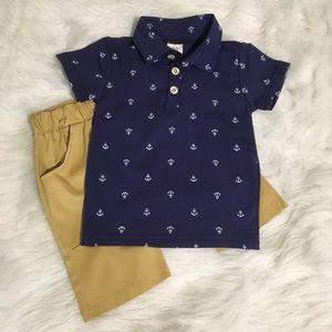 Boys 2pc Anchors Away ⚓ Polo and Tan Pants